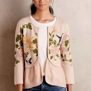 Rare Anthropologie Moth winged wonder pink sweater